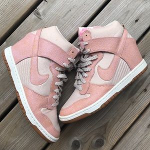 Nike Dunk Sky High Top Pink Wedge Sneakers Runners
